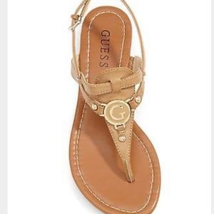 GUESS Shayann Brown Leather Thong Sandals